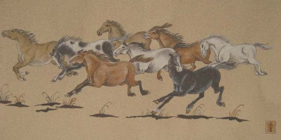 Artwork >> Sandpainting >> Sand painting - Herd Horse 2, Original Painting