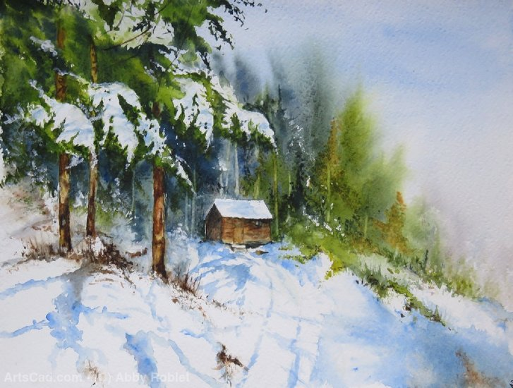 Artwork >> Abby Roblet >> It snowed on my cabin