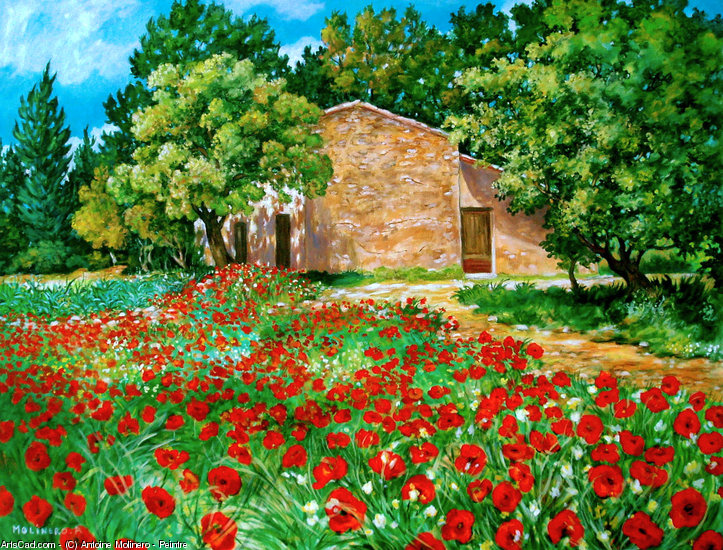 Artwork >> Antoine Molinero - Peintre >> out the Farmhouse in Provence the Poppies in