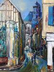 Gebo Peinture Au Couteau - Vauluisant Street and St. Pantaleon Church. TROYES