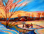 Carole Spandau - POND HOCKEY BLUE AND ORANGE SKY