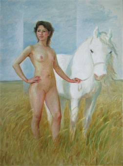 Artwork >> Chen Jiqun >> NUDE WITH WHITE HORSE