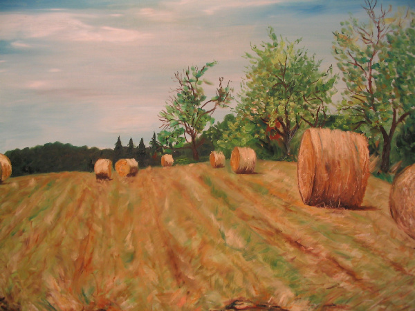 Artwork >> Mazouz Patrice >> Hérimoncourt (Doubs) harvest (straw bales) Oil / canvas