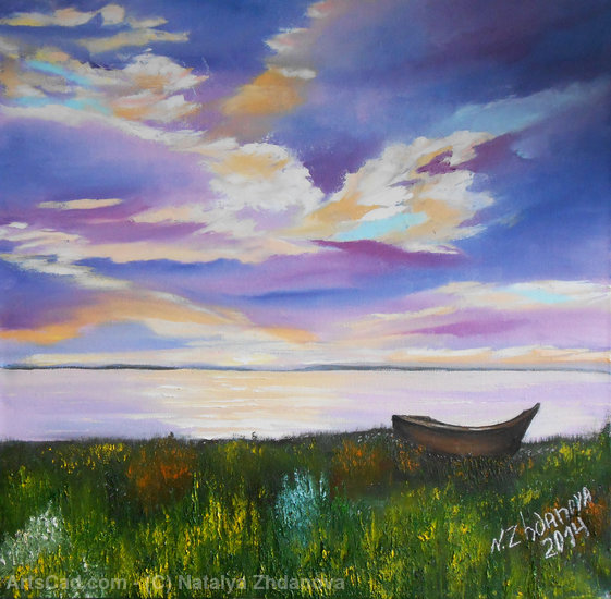 Artwork >> Natalya Zhdanova >> The boat ashore on a colourful sunset in the romantic summer evening