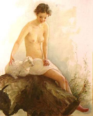 Artwork >> Chen Jiqun >> NUDE WITH A LAMB