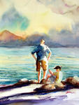 Inspirational Paintings - Two Brothers waiting for the ferry