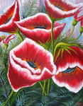James E. Dunbar - Red Poppies Of Pink Sky-s