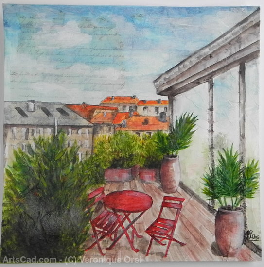 Artwork >> Veronique Orsi >> 'Rooftop terrace View'