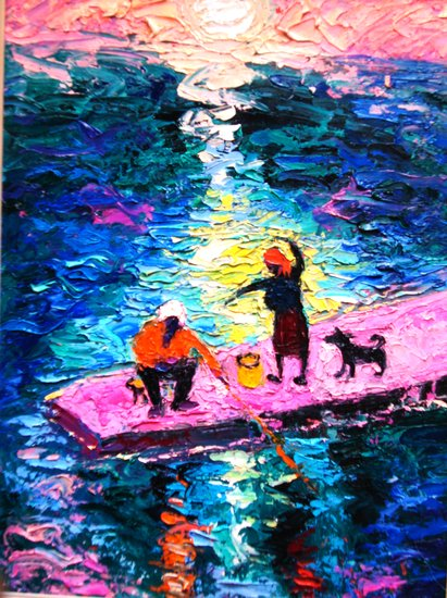 "Artwork >> Eva Kudukhashvili >> ""ciliated  night  at sea"".oil on cardboard.75x55cm.2000y.$32000"