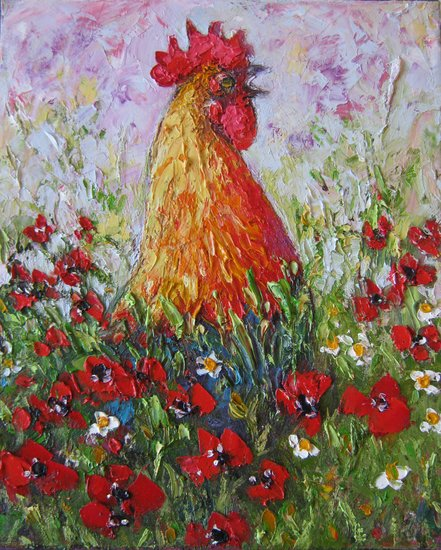 Artwork >> Mima Kostova >> Crowing rooster