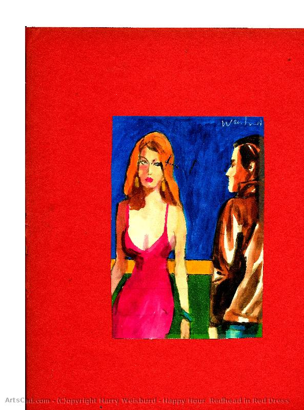 Artwork >> Harry Weisburd >> Happy Hour  Redhead in Red Dress