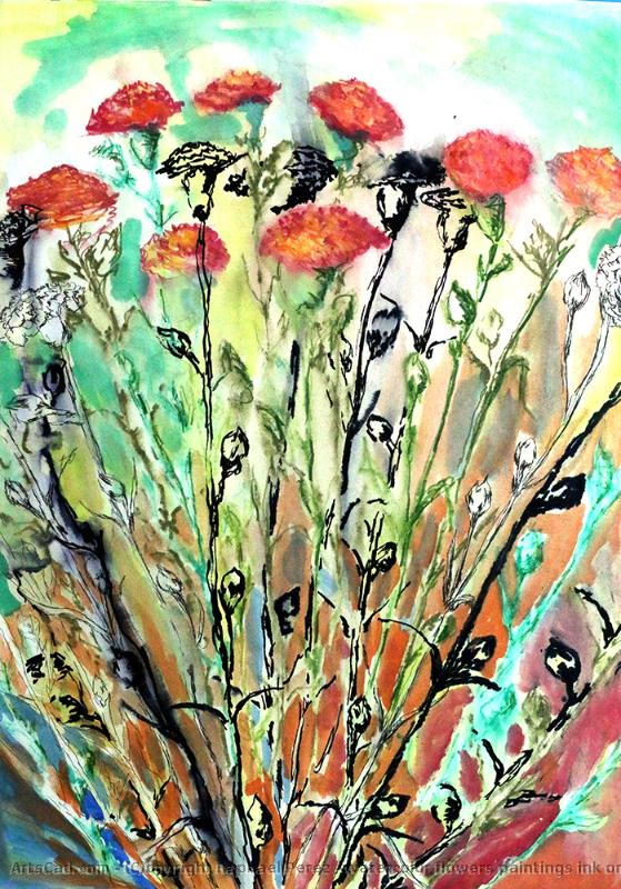 Artwork >> Raphael Perez >> watercolor flowers paintings ink on paper flower art painting by israeli painter raphael perez