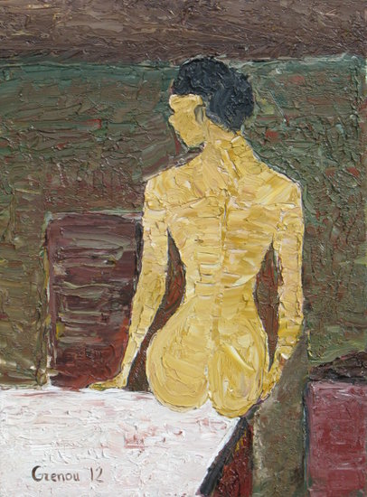 Artwork >> Marc Grenou >> Naked girl sitting on the table