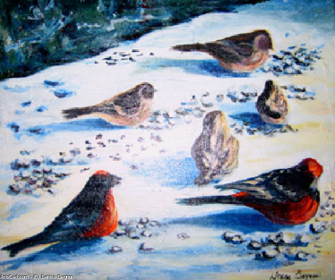 Artwork >> Denise Gagnon >> birds out of  there  snow