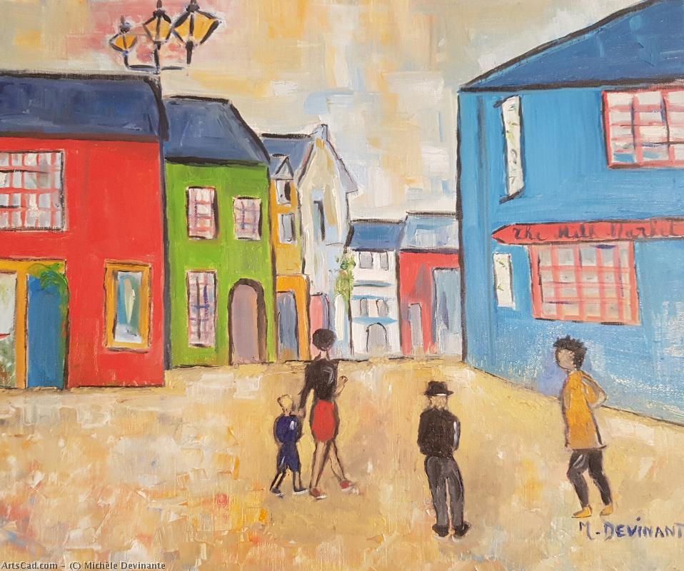 Artwork >> Michèle Devinante >> walking at the  Town