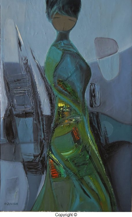 Artwork >> Noureddine Zekara >> Woman in Green