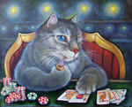 Светлана Кисляченко Jam-Art - Royal Flush (cat playing poker)