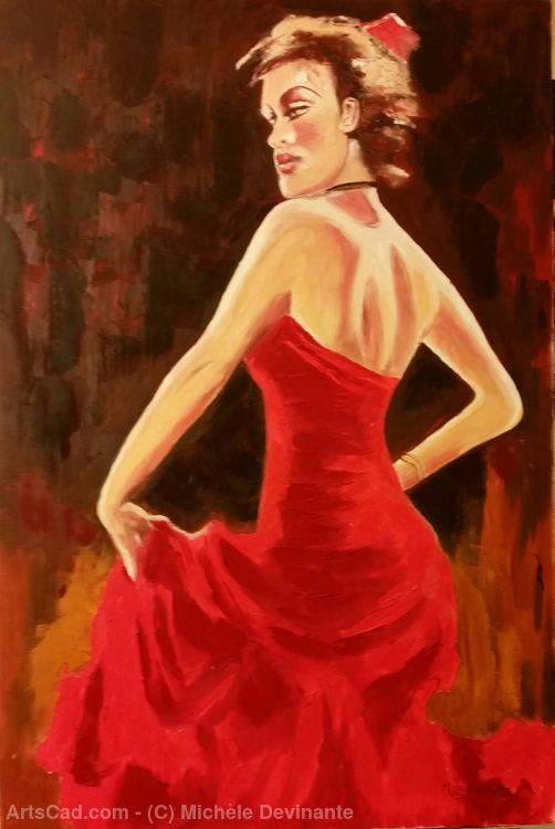 Artwork >> Michèle Devinante >> FLAMENCO RED DRESS