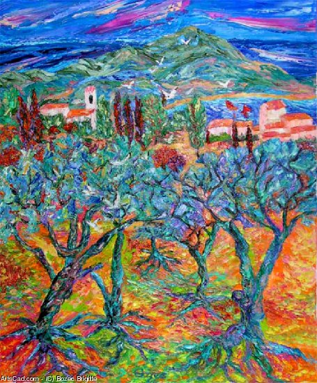 Artwork >> Bozec Brigitte >> YONDER PRESQU'ILE AND HIS BLUE TREES