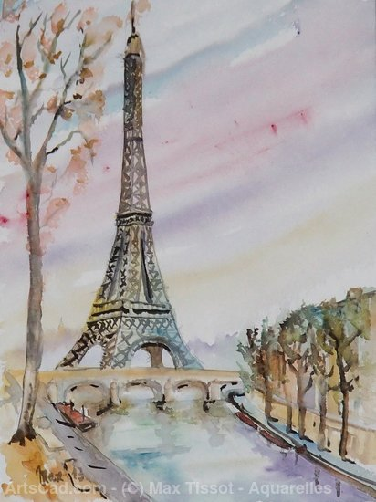 Artwork >> Max Tissot - Aquarelles >> eiffel tower
