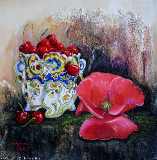 Artwork >> Sylviane Petit >> poppy - the rouen with cherries and poppy