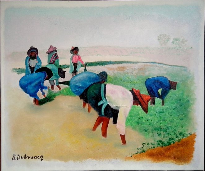 Artwork >> Brigitte Dubreucq >> work in rice fields