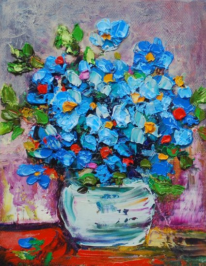 Artwork >> Mima Kostova >> Blue Flowers