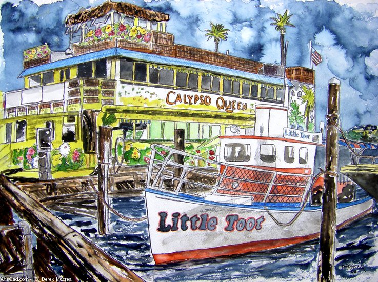 Artwork >> Derek Mccrea >> Clearwater Florida Boat Painting