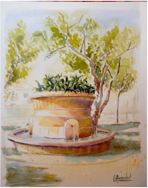 Artwork >> Claude Arcambal >> St Tropez - Fontaine up Lices