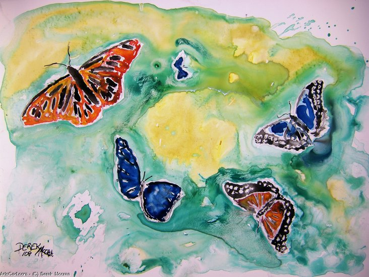Artwork >> Derek Mccrea >> 3 butterflies yupo painting