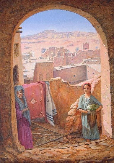 Artwork >> Till Dehrmann >> Young girls moroccan in the Kasbah