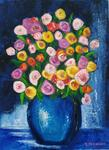 Michèle Devinante - BOUQUET IN VASE BLUE