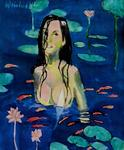 Harry Weisburd - Woman With Lotus Flowers and Coi Fish