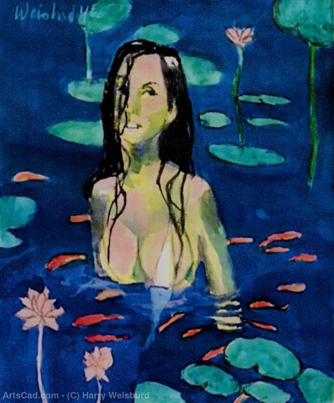 Artwork >> Harry Weisburd >> Woman With Lotus Flowers and Coi Fish