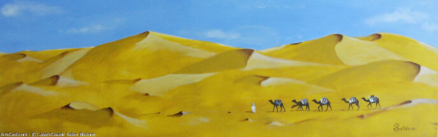 Artwork >> Jean-Claude Selles Brotons >> The Caravan place in  out the  wilderness  Tunisian