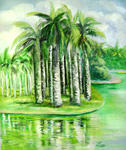 Zhen Lianxiu - palm trees reflections