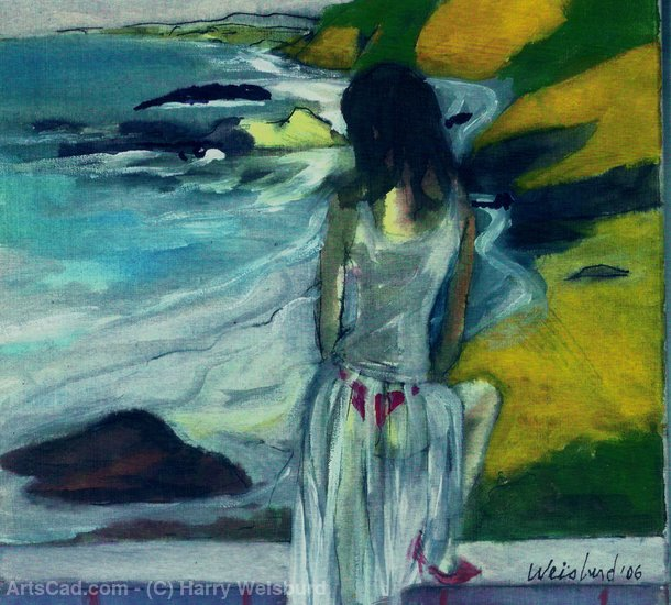 Artwork >> Harry Weisburd >> Woman In Sheer Dress By The Sea