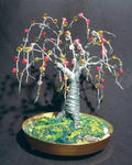 Sal Villano Wire Tree Sculpture - Beaded Oak - Wire Tree Sculpture
