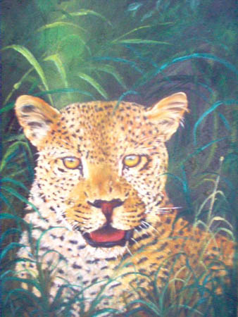 Artwork >> Berthold Moyo >> leopard watching