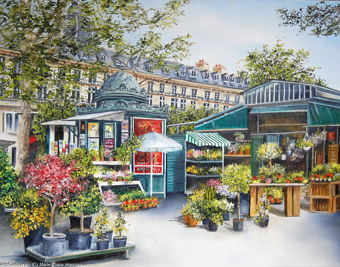 Artwork >> Marie-Claire Houmeau >> Flower Market - Paris