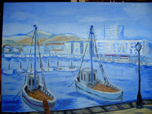 Artwork >> Dany Arnetz >> The harbor of Toulon seen  per  me
