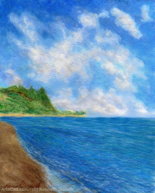 Artwork >> Kenneth Grzesik >> Tunnels Beach Sky