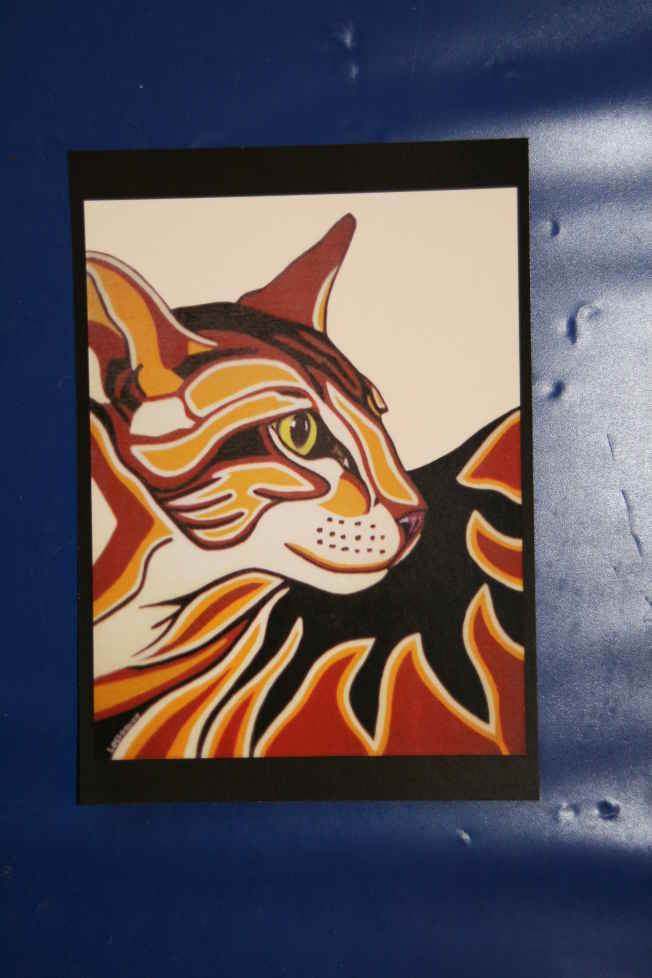 Artwork >> Galerie Lv >> PICTURE POSTCARD CAT STYLIZED EGYPTIAN ( breeding dice l'une of my paints )