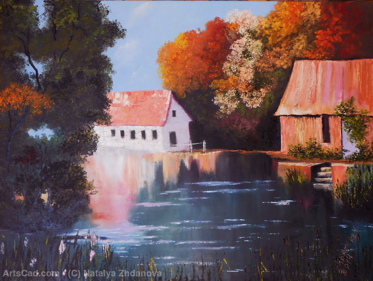 Artwork >> Natalya Zhdanova >> Rural landscape with the lake and houses