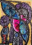Mirit Ben-Nun - Flowers and faces colorful Israelian contemporary woman artist mirit Ben-Nun