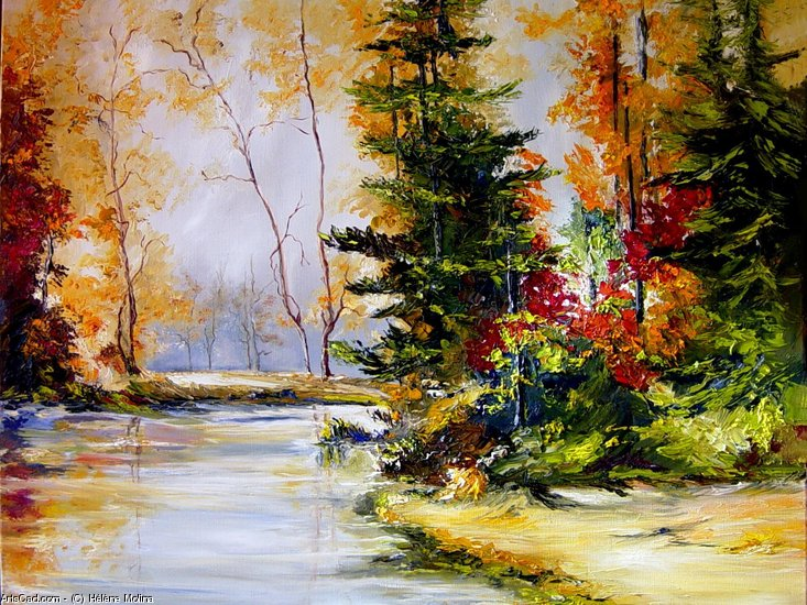 Artwork >> Hélène Molina >> Fir trees at the edge of the water.