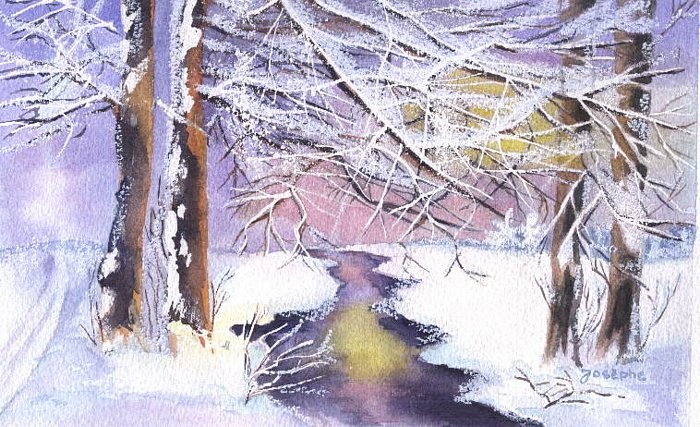 Artwork >> Josèphe Gravier >> The brook beneath  there  snow