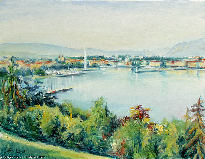 Artwork >> Philippe Juttens >> geneva harbor view from Cologny , in morning