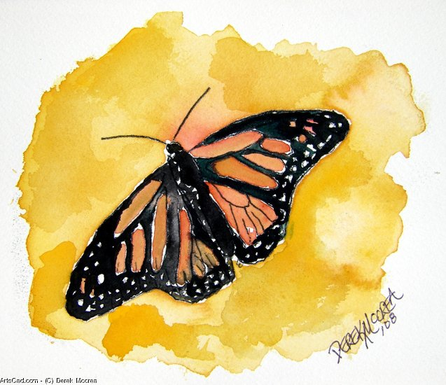 Artwork >> Derek Mccrea >> Orange monarch butterfly painting print