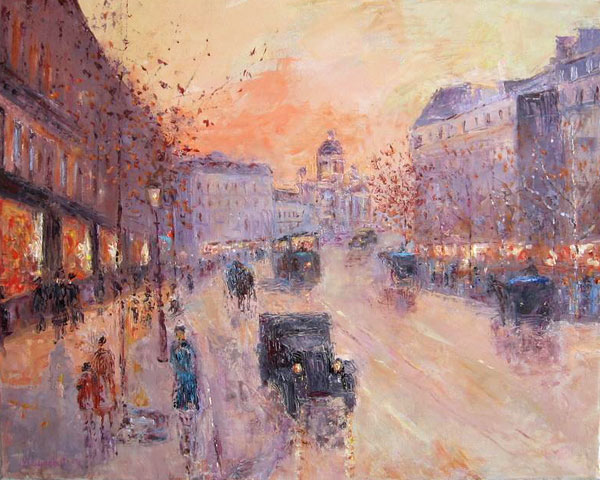 Artwork >> Slobodan Paunovic >> Along the Boulevard, 1930 y
